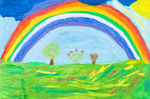 Child's paiting - rainbow under green earth — Stock Photo