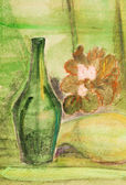 Child's paiting - still life with old green bottle — Photo
