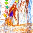 Abstract child's drawing - princess and castle — Stock Photo