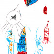 Child's drawing - space rockets - Stockfoto