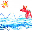 Child's drawing - fish queen in sea — Stock Photo #25265111