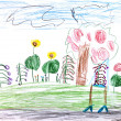 Child's drawing - green meadow in forest — Stock Photo #25265413