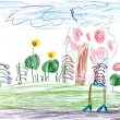 Child's drawing - green meadow in forest — Stock Photo