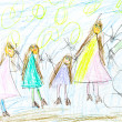 Child's drawing - happy family - Stock Photo