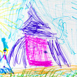 Child's drawing - pink hut and dwarf — Stock Photo