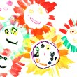 Child's drawing - many happy suns — Stock Photo