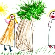 Child's drawing - family quarrel - Stock Photo