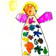 Child's drawing - happy girl — Foto Stock