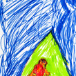 Child's drawing - girl in tourist tent — Stock Photo