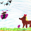 Child's drawing - fox, butterfly and flying birds — Stock Photo