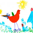 Child's drawing - poultry yard — Stock Photo #25266861