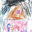 Child's drawing - girl in house at night — Stock Photo