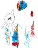 孩子的画-太空火箭 — 图库照片