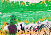 Child's painting - green forest glade — Stock Photo