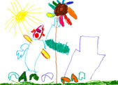 Child's drawing - , house, flower and sun — Stock Photo