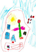 Child's drawing - angel under sleeping child — Stock Photo