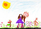 O desenho do filho - feliz garota perto das flores — Fotografia Stock