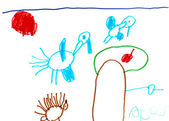 Child's drawing - flying storks — Stock Photo