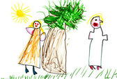 Child's drawing - family quarrel — Stock Photo