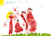 Child's drawing - happy family — Stock Photo