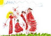 Dibujo del niño - familia feliz — Foto de Stock