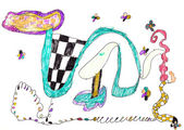 Child's drawing - serpentine pattern — Stockfoto