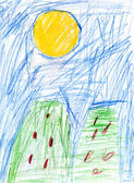 Child's drawing - green houses — Photo