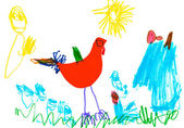 Child's drawing - poultry yard — Stock Photo