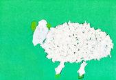 Child's applique - white furry sheep — Stock Photo