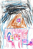 Child's drawing - girl in house at night — Foto de Stock