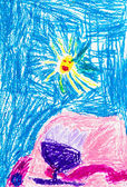 Child's drawing - mountain under sun — Stock Photo