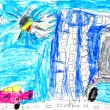 Child's drawing - urban landscape — Stock Photo