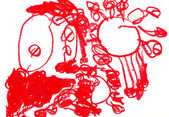 Child's drawing by red pencil — Stock Photo