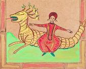 Persian prince flying on dragon — Stock Photo