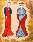 French women of the 14th century — Stock Photo