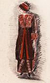 Women velvet suit for walking 1910 year — Stock Photo