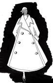 Długi płaszcz z szeroką spódnicę w 40 lat — Zdjęcie stockowe