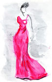 Long pink evening gown of 30th years — Stock Photo