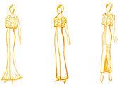 Development of ladies evening gown — Stock Photo