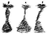Development evening dresses based on thorny bush — Stock Photo
