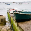 Concrete pier and boat in Brittany — Stock Photo