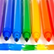 Seven rainbow colored felt pens — Stock Photo