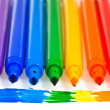 Stock Photo: Seven rainbow colored felt pens