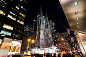 St. Patrick Cathedral in New York at night — Stock Photo