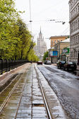 Carriageway of Pokrovsky Boulevard in Moscow — Stock Photo