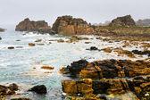 Stone coastline of Atlantic ocean in Brittany — Stock Photo