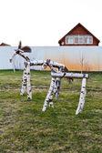 Wooden horse figure on backyard — Stock Photo