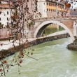 Pedestrian bridge over Tiber river in Rome — Stock Photo