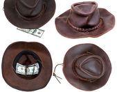 Cowboy hat with lucky bill isolated on white — Stock Photo