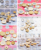 Numismatic album with different coins — Stock Photo